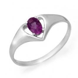 2W: Genuine 0.21 ctw Amethyst Ring 10K White Gold