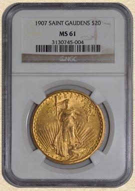 1N: 1907 $20 St. Gaudens MS61 NGC