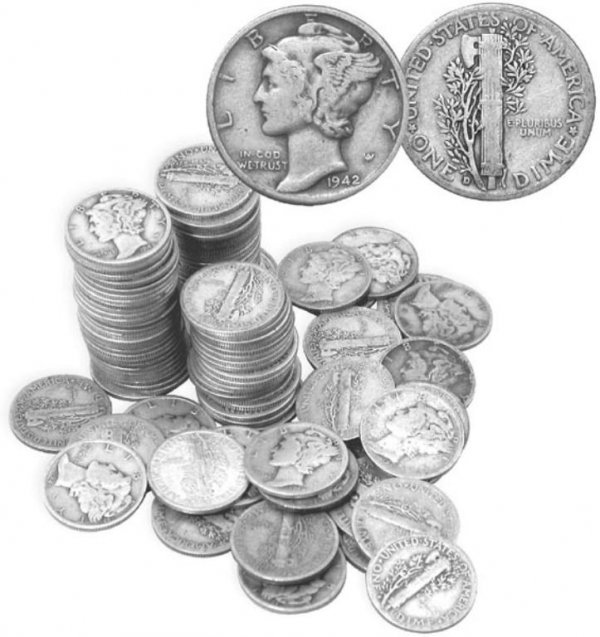 16: Lot of 10 Mercury Dimes- Circulated