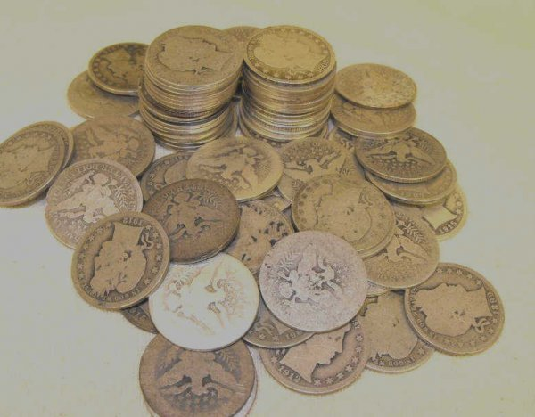 17: Lot of 10 Barber Quarters
