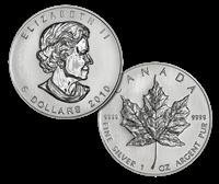 18: Lot of 10 Silver Maple Leaf 1 oz.
