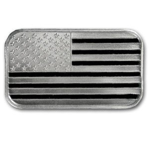 1W: 1 oz .999 Fine Silver Bars - (American Flag Design)