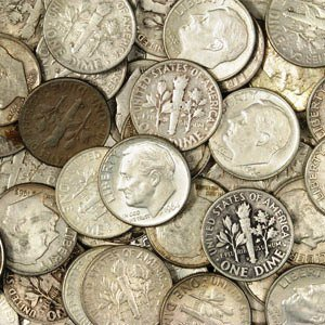 9: Lot of $ 10 Face Value 90% Silver Dimes