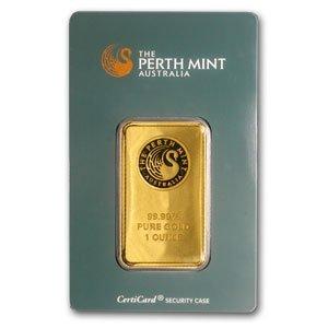 1: (1 oz) .9999+ Fine Gold Bar Perth Mint (In Assay )