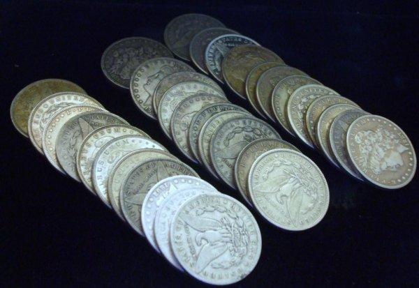 2A: Roll of 20 Morgan Silver Dollars- 1878-1921 g-xf