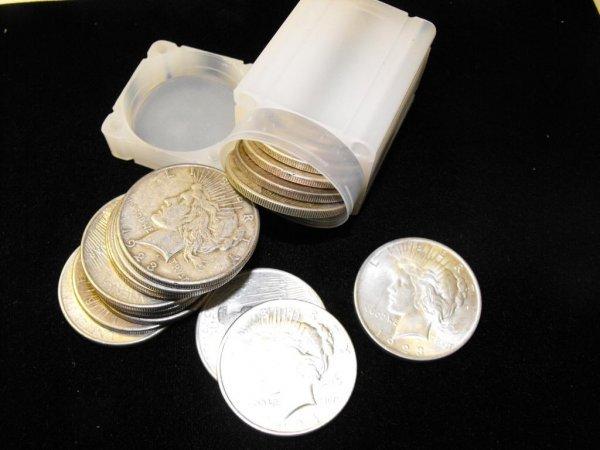 2V: Lot  of 10 Peace Silver Dollars