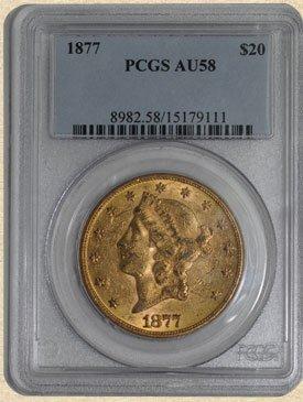 1N: 1877 $20 Liberty AU58 PCGS