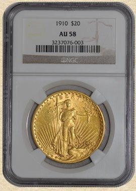 2C: 1910 $20 St. Gaudens AU58 NGC