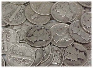 19: Roll Of Average Circulated Mercury Dimes