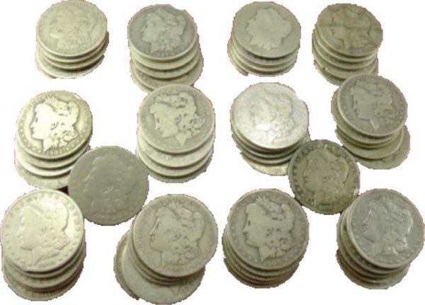 6Q: 50- Morgan Silver Dollars- 1878-1921