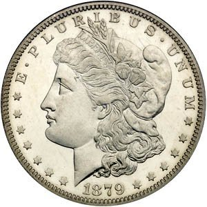 412: 1879-s Morgan BU Silver Dollar-MS 62 PLUS!