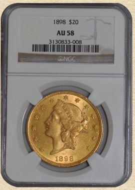 1D: 1898 $20 Liberty AU58 NGC
