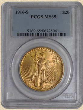 2D: AWESOME 1916-S $20 St. Gaudens MS65 PCGS