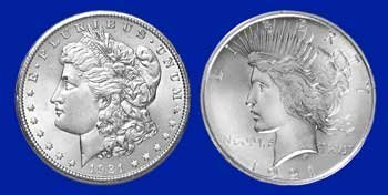 15: 1921 Morgan UNC- 1921 Peace Fine Silver Dollars