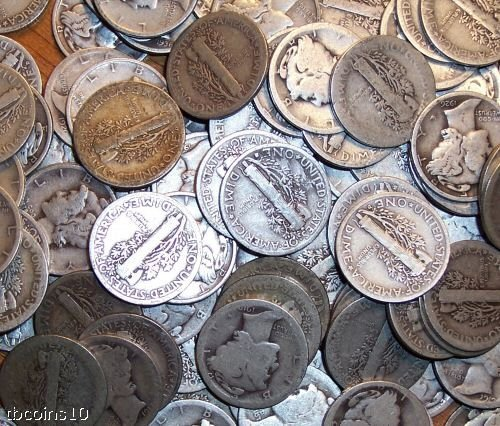 2A: Lot of 100 Mercury Dimes- Circulated
