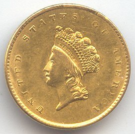12A: 1850-70's US Gold Minted $ 1 Coin