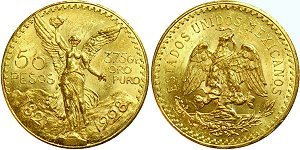 1: 50 Peso Gold From Mexico - Uncirculated Condition