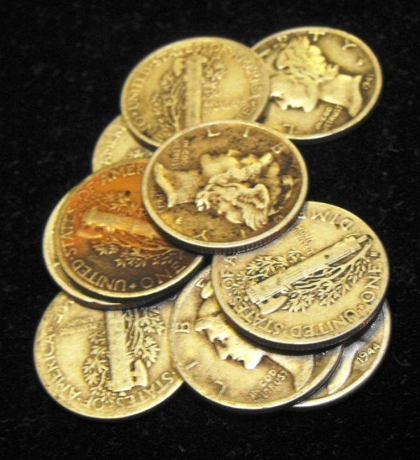 2: Lot of 10 Circulated Mercury Dimes-