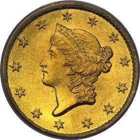 12: Lot of 10 Gold $ 1 Dollar Liberty Coins 1849-54