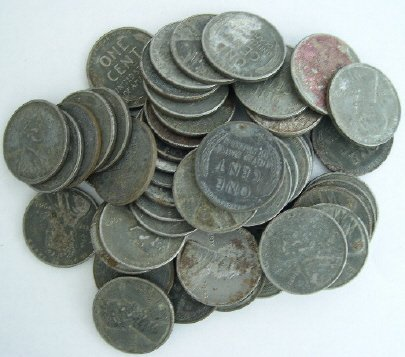 2A: Lot of 50 Steel War Cents-