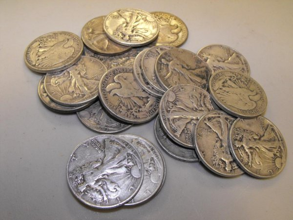 5A: Lot of 100 Walking Liberty Half Dollars-
