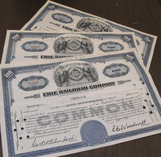 2: Lot of 3 Erie Railroad Stocks