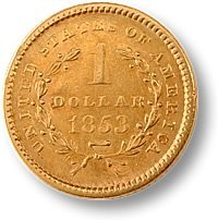395A: 1850'S - 1870's date range - $ 1 GOLD US COIN-