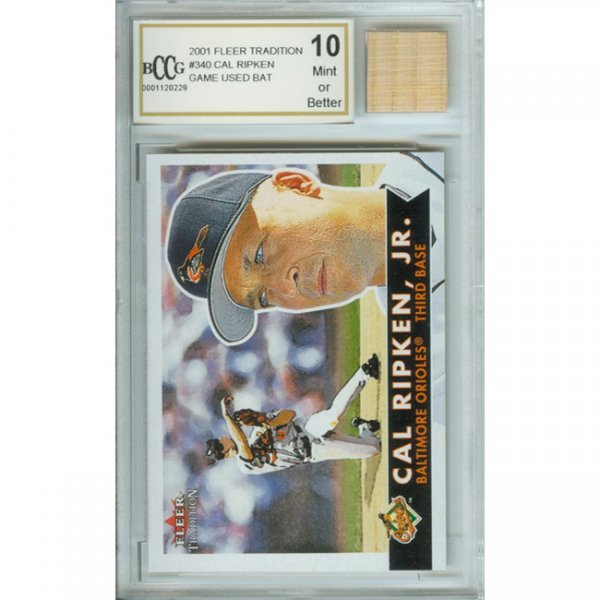 5H: Cal Ripken Mint Card and Rookie Game-used Bat