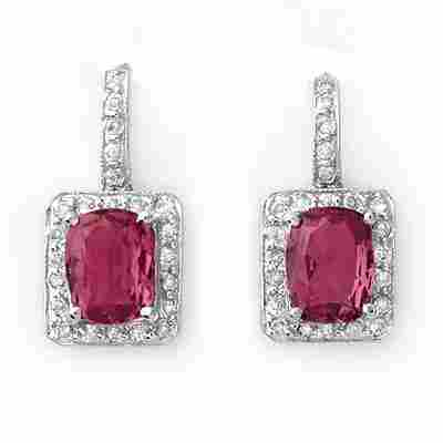394W: Earrings 3.50 ctw Diamond Pink Tourmaline