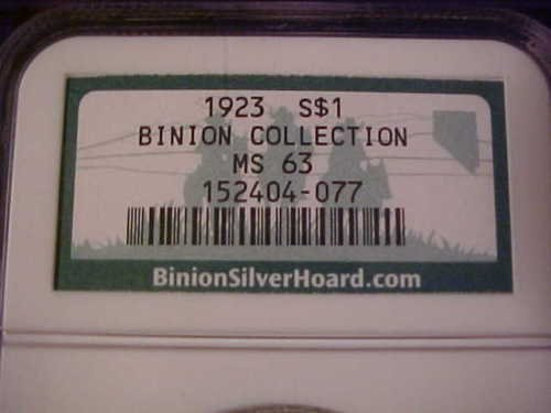 1B: Historical Item- Binions Collection Peace  $ 1 MS 6