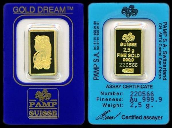 6: PAMP 2.5 gram Gold Bar 999.9 with Assay Cert.