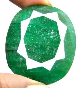 11Q: LARGE Emerald Gem-133 cts. GG GIA Appr. $2.4k