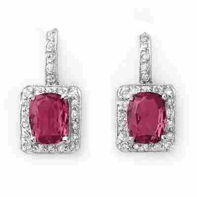 394W: Earrings 3.50 ctw Diamond Pink Tourmaline