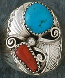 3F: Native AMerican Turquoise & Coral Ring