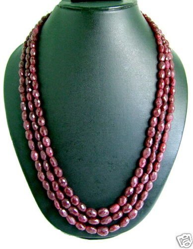 "7D: Faceted Ruby Bead Triple Necklace-11"" Gemstone Nec"