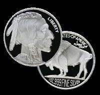 1N: 1 oz (.999) Fine Silver Round - (Buffalo)