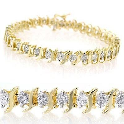 1W: Natural 1.0 ctw Diamond Bracelet 10K Yellow Gold