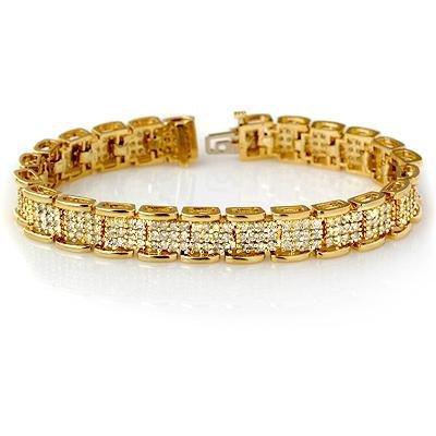 2W: Natural 7.0 ctw Diamond Bracelet 14K Yellow Gold