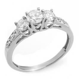 1W: Natural 0.50 ctw Diamond 3-Stone Ring 14K WG
