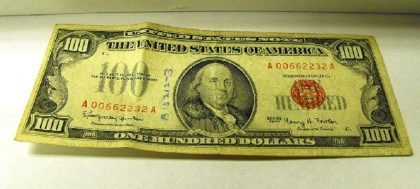 1D: 1966 Red Seal  A  US NOTE $ 100 Bill- VG/Better