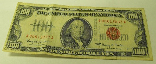 2D: 1966 $ 100 Bill Red Seal US NOTE A Code