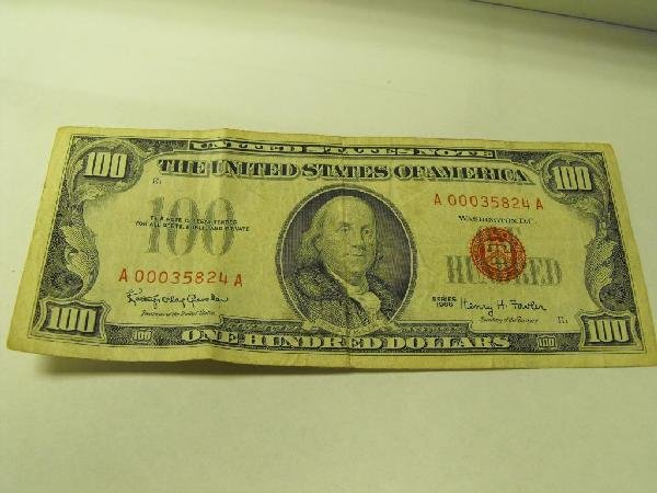 3D: $100 Red Seal - 1966 US NOTE A Code