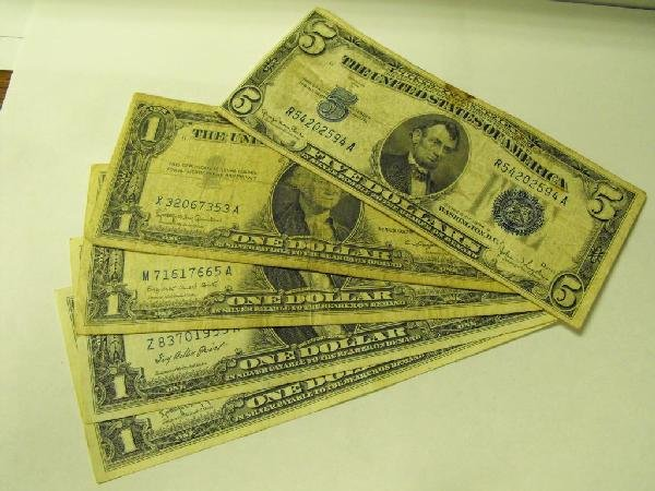 5D: Silver Certificate Lot $ 9 Face-