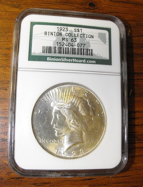 1D: 1923 MS 63 Peace Dollar from BINIONS CASINO COLLECT