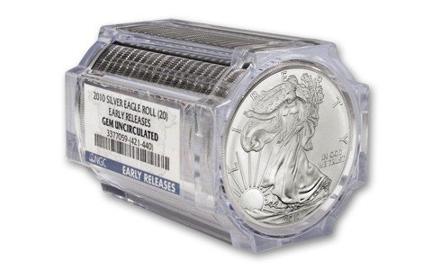 5B: Lot of (20) Graded in Tube UNC- US Silver Eagles