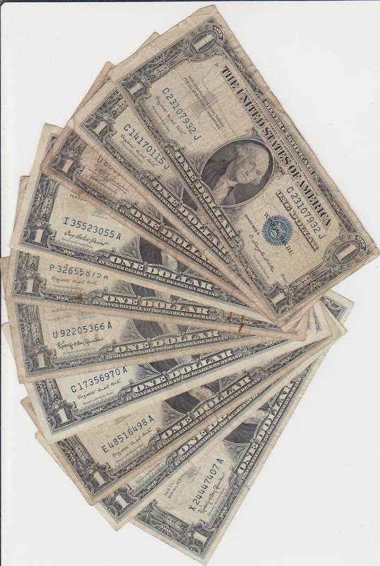 12D: Lot of 10 Silver Certificates