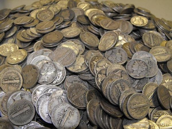 1A: Lot of 100 Mercury Dimes- Circulated