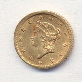 5A: 1850-70's US Gold Minted $ 1 Coin