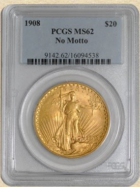 1C: 1908 $20 St. Gaudens MS62 PCGS No Motto