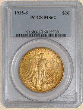 3C: 1915-S $20 St. Gaudens MS62 PCGS